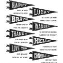 CMS330 Tim Holtz Cling Mounted Stamp Set - Pennants